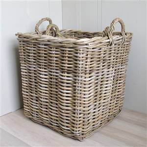 2 Square Rattan Baskets Log Laundry