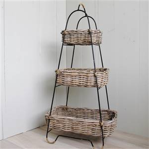 3 Tier Grey Rattan Stand Rack
