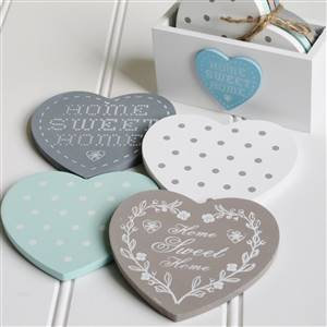 4 Heart Coasters in Holder
