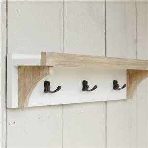 Antique White Shelf 3 Coat Hooks