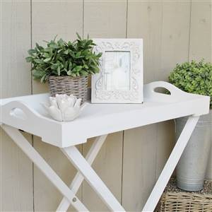 White Wooden Tray on Stand