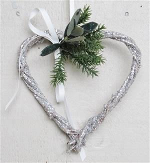 Silver Glitter Twig Heart