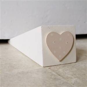 Cream Heart Door Stop Wedge