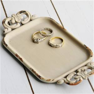 Cream Metal Trinket Tray