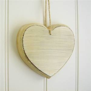 Cream wooden heart SECONDS
