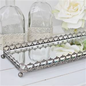 Silver Mirror Trinket Tray