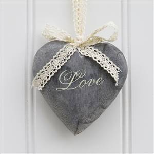 Grey Love Hanging Hearts x 3