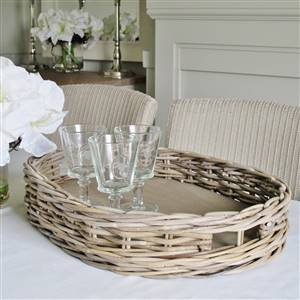 Grey Rattan Oval Tray SECONDS