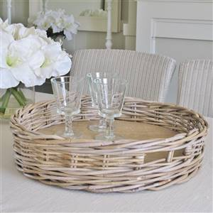 Grey Rattan Round Tray SECONDS