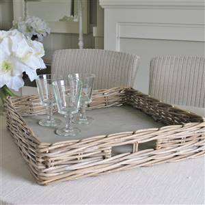 Grey Square Rattan Tray