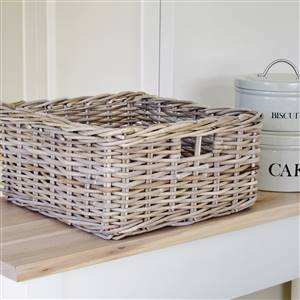 Grey Rattan Storage Basket