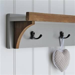 Grey Wall Shelf 3 Coat Hooks