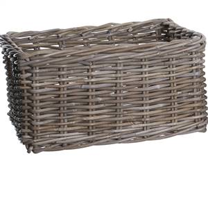 Rectangular Deep Rattan Wicker Storage Basket Grey & Buff