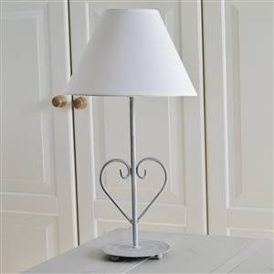 Grey Heart Table Lamp and White Shade