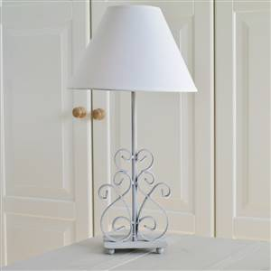 Grey Scrolled Table Lamp and Shade