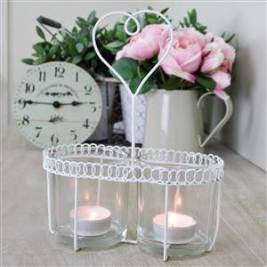 White Heart Wire T-Light Holder