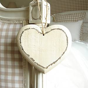 Cream wooden heart