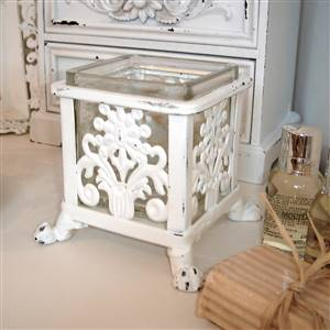 White Square Ornate Votive