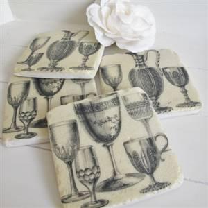 4 Wine Goblet Tile Coasters