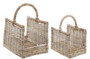 Rattan Wicker Log Carrier Basket Set of 2 Grey and Buff