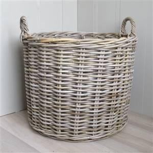 Round Rattan Log Basket Grey & Buff