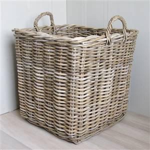 Square Rattan Log Basket Grey & Buff