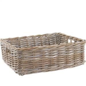 Rectangular Rattan Basket Grey & Buff