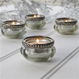 Tea Light Holder Silver Effect  Set 4