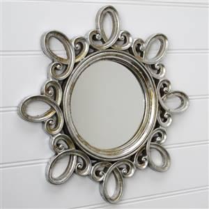 Silver Swirl Round Wall Mirror