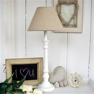 White Table Lamp Linen Shade
