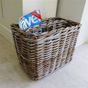 Grey Rattan Magazine Rack