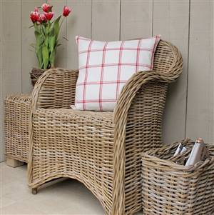 Natural Rattan Armchair Grey and Buff