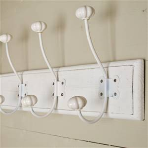 White Wooden Coat Hooks Wall Rack