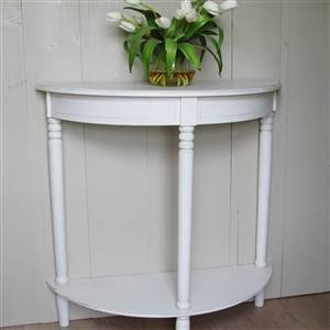 White Half Moon Console Table SECONDS
