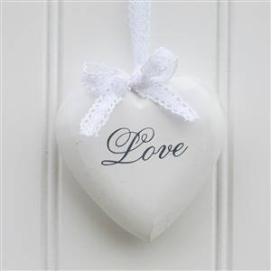 White Love Hanging Hearts x 3
