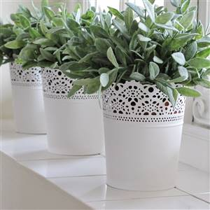 White Metal Planter French Style