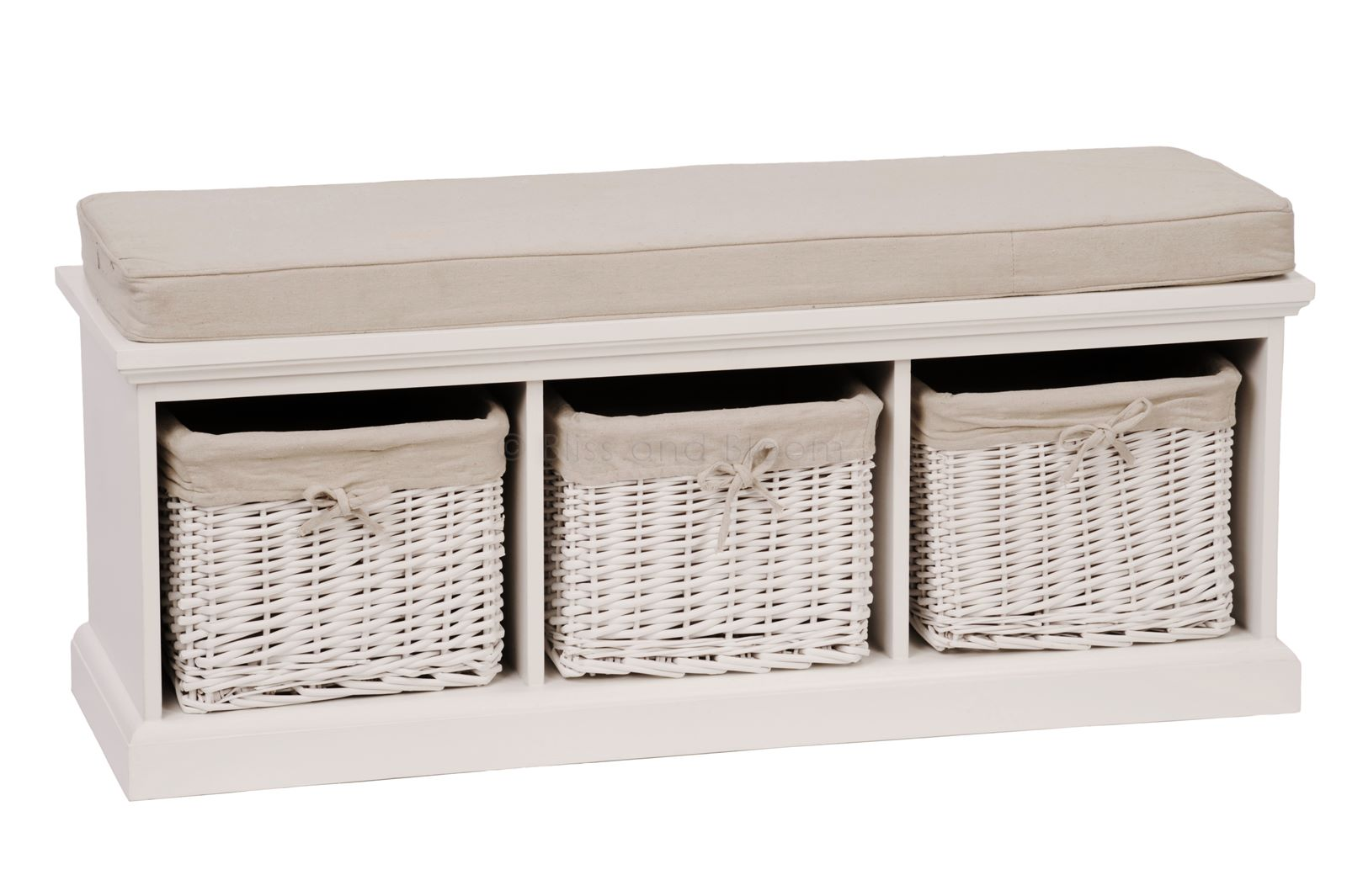 White 3 Basket Storage Bench Bliss And Bloom
