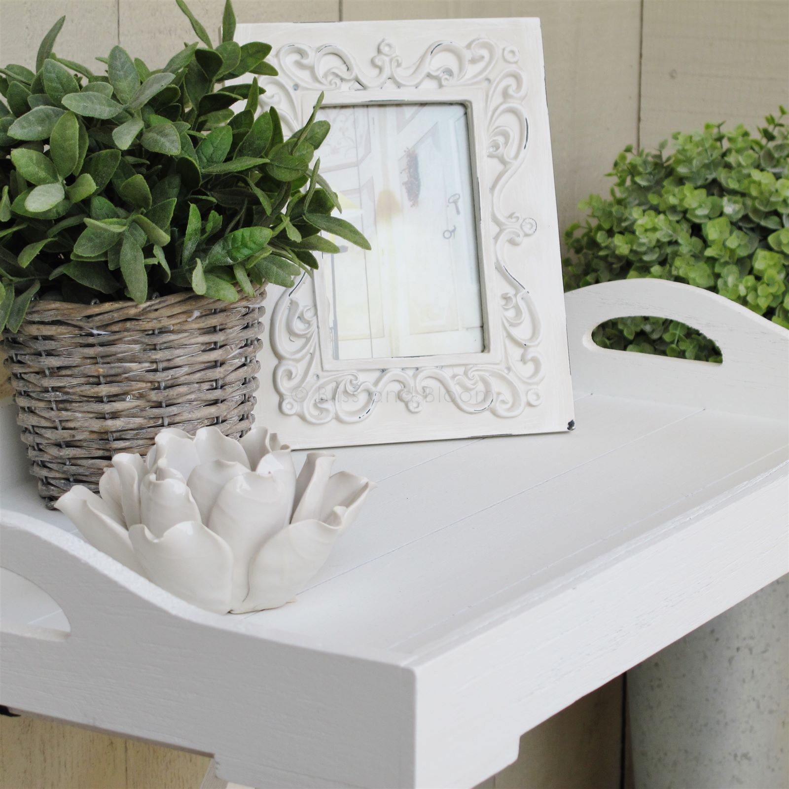 White Wooden Tray On Stand Bliss And Bloom