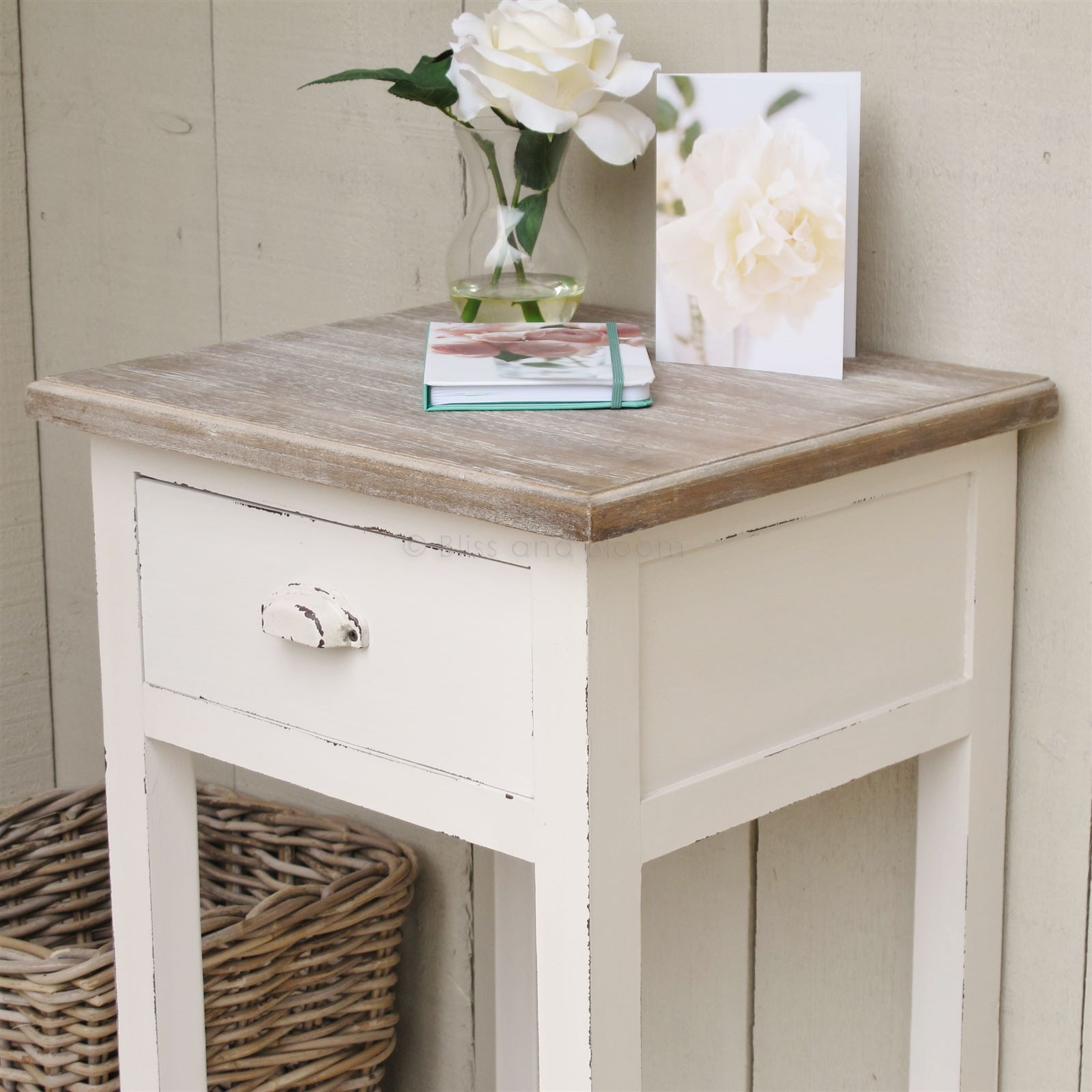 Off White Bedside Side Table Bliss And Bloom