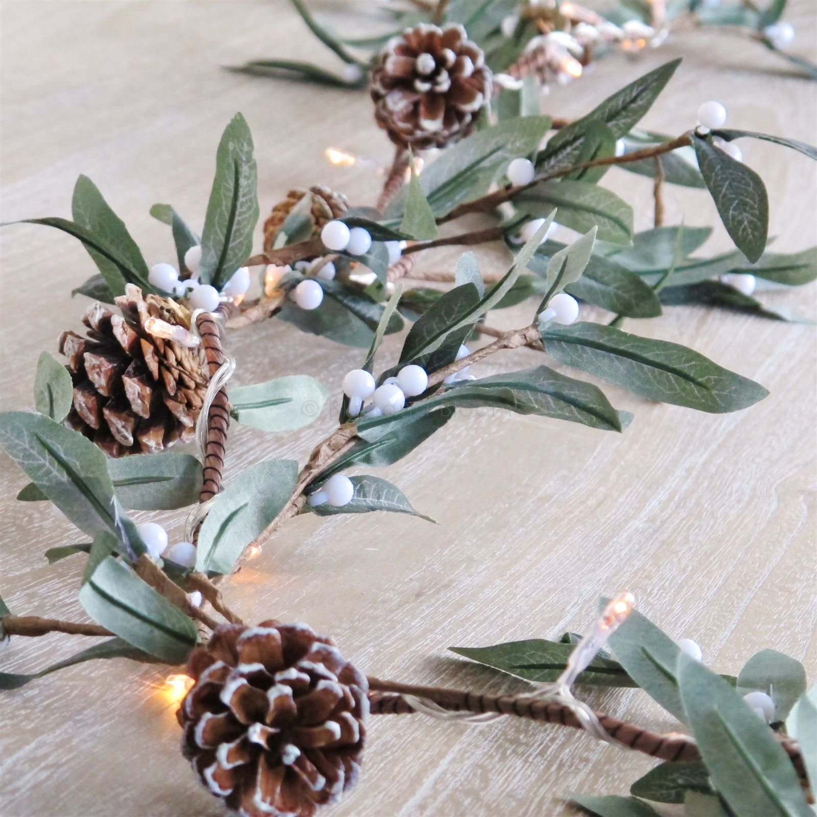 Mistletoe And Cone Lights Garland Bliss And Bloom