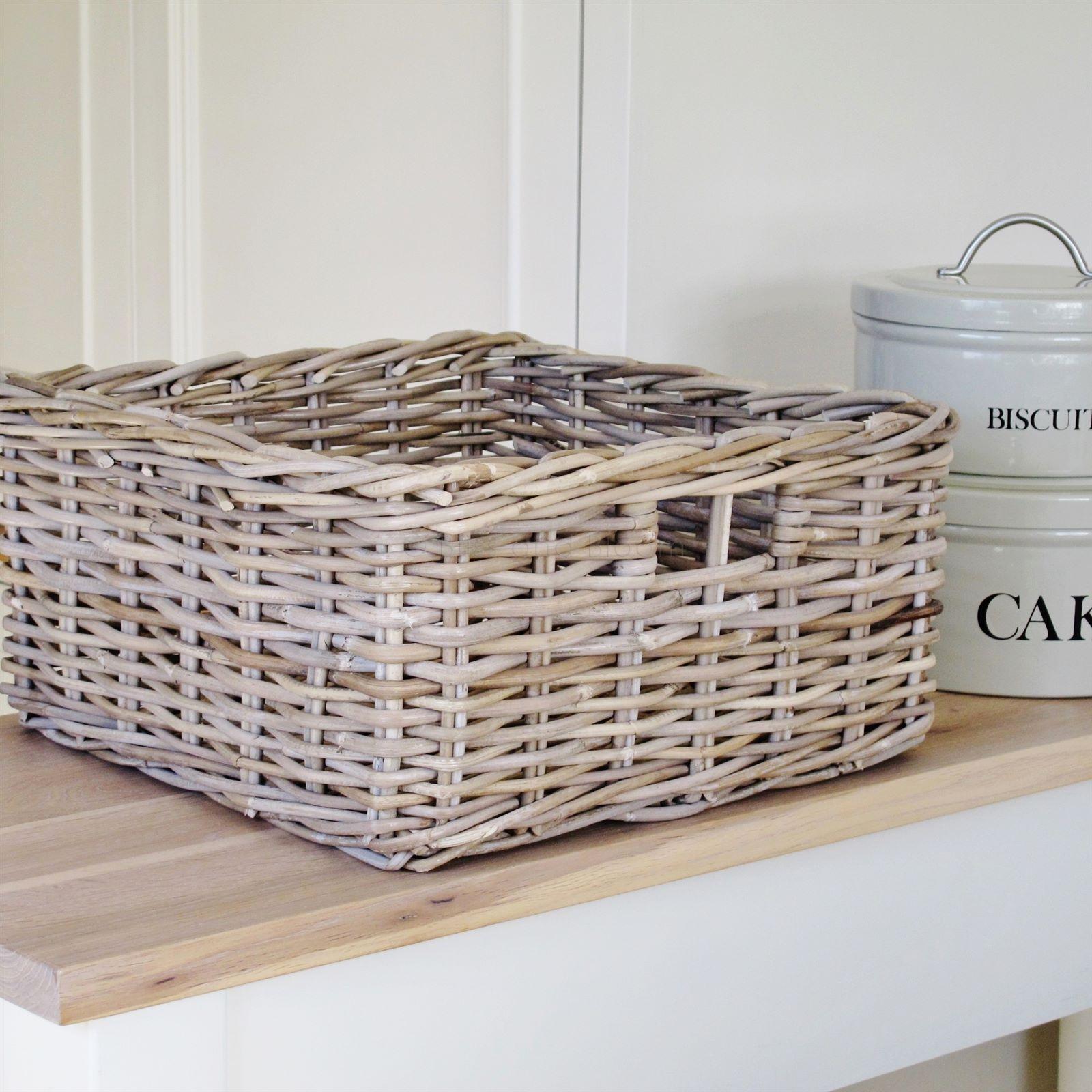 Grey Wash Wicker Storage Basket: Grey Rattan Storage Basket