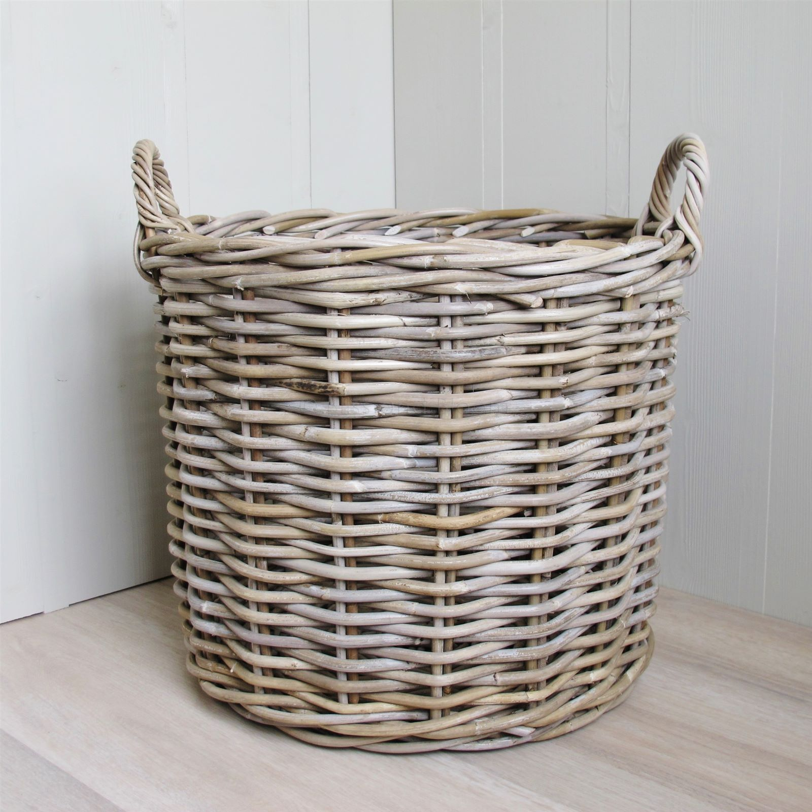 2 Round Rattan Baskets Log Laundry | Bliss and Bloom