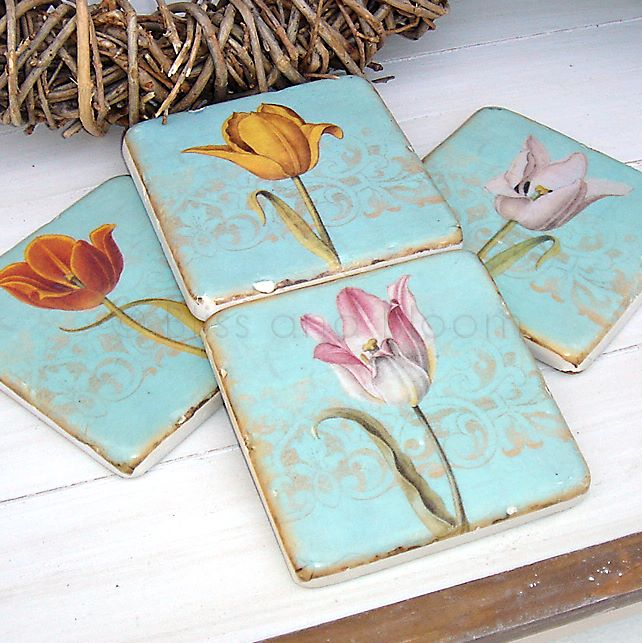 tile designs for bathrooms set of 4 tulip tile coasters bliss and bloom ltd 20838