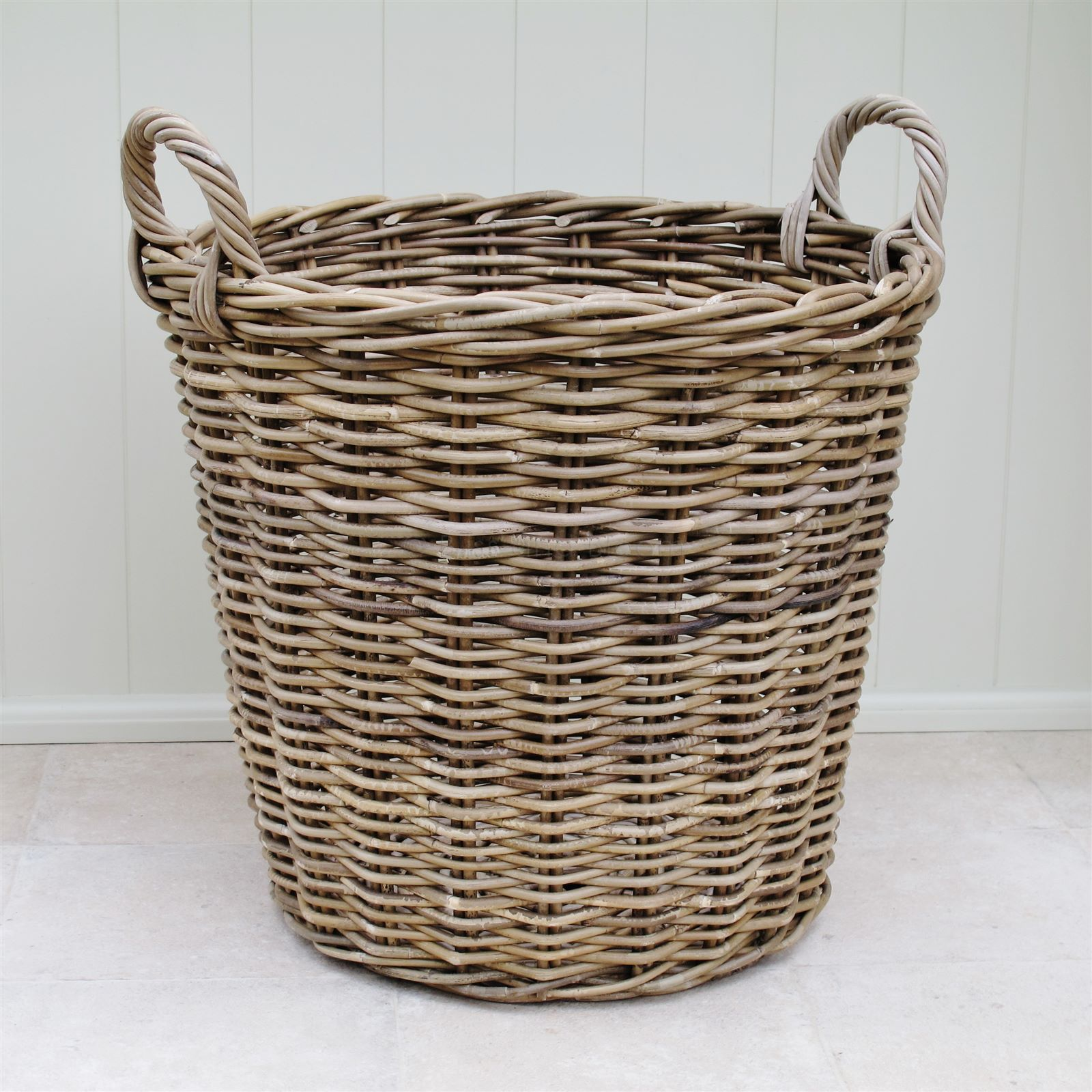 Buy Grasmere Grey Wash Wicker Storage Basket From The: Large Rattan Log Laundry Basket