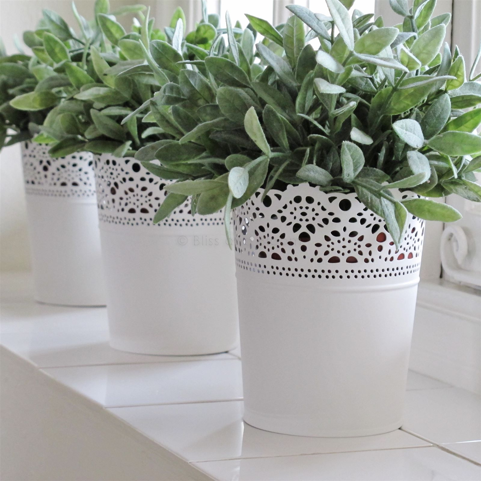 Super White Metal Planter French Style | Bliss and Bloom Ltd AR49